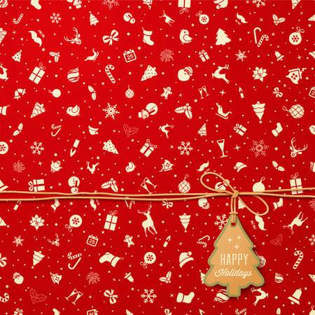 クリスマス ツリーのタグとの休日シームレスなパターン  イラスト・ベクター素材
