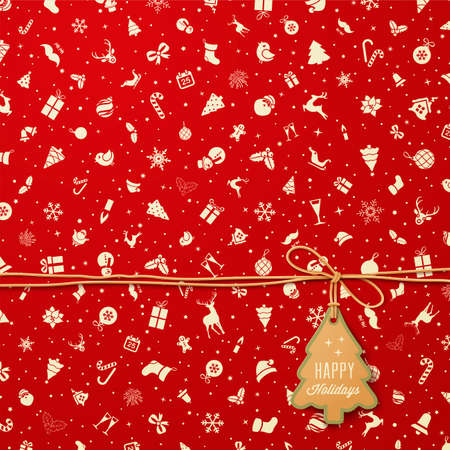 wrapping animal: Holiday Seamless Pattern  with Christmas tree tag
