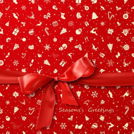 a holiday greeting: Red Bow over red Christmas wrapping paper icons seamless pattern