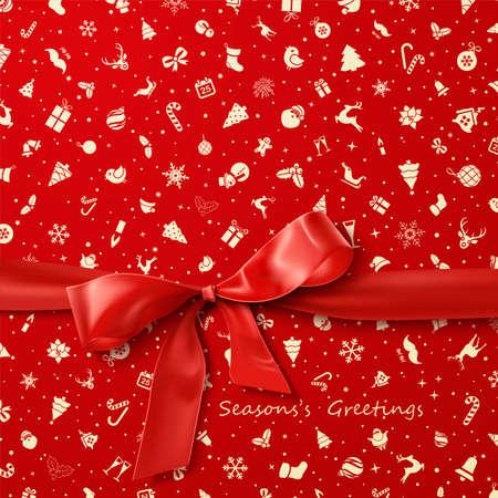 natale: Red Bow su rosso carta da imballaggio di Natale icone seamless pattern