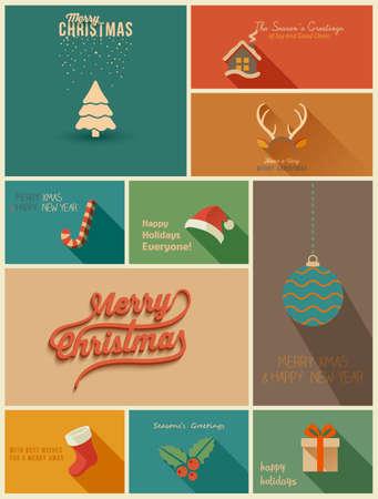 moños navideños: Colección de fiestas tarjetas. Ilustración vectorial