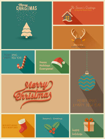 Collection of Holidays cards. Vector Illustration Çizim