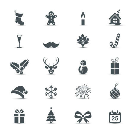 christmas tree set: Holiday Icons set (Christmas and New Year) Illustration