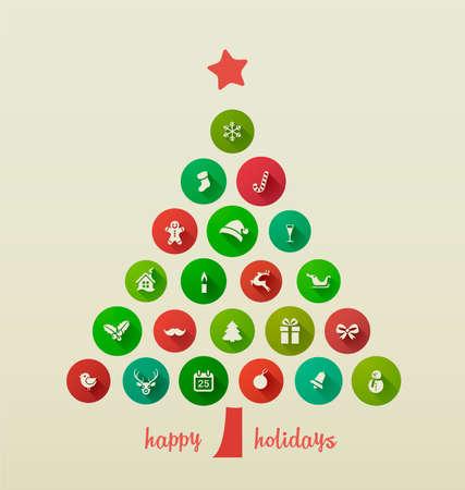 feriado: Felicitación de Navidad, árbol de Navidad de iconos planos