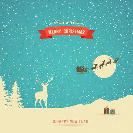 Felicitación de Navidad, paisaje de invierno con renos, regalos, árboles, nieve, renos voladores y la bandera roja