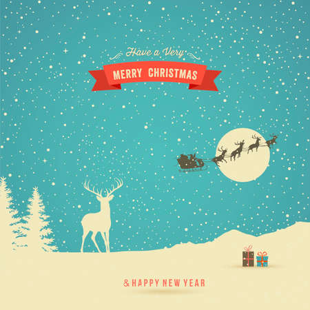 Holiday Card, winter landscape with reindeer, gifts, trees, snow, flying reindeer and red banner Vector