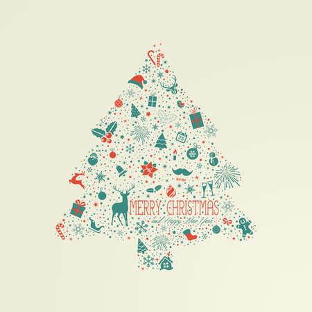 christmas tree set: Holiday card, Christmas tree from design elements