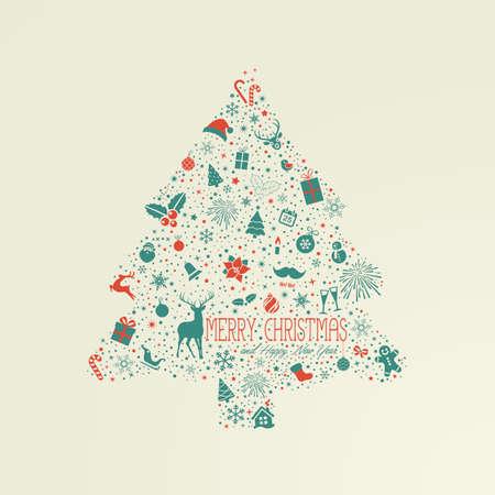cajas navide�as: Tarjeta de vacaciones, �rbol de Navidad de elementos de dise�o Vectores