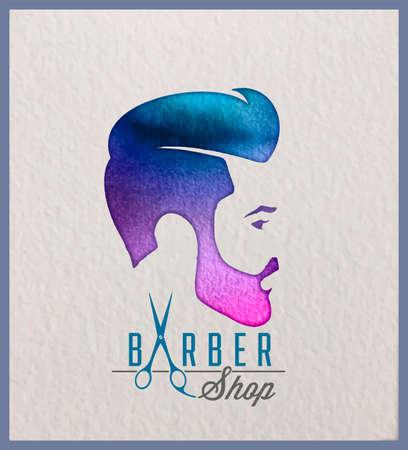 Kreatives Aquarellfirmenzeichen des Kopfes des Mannes. Logo-Design für Friseur und Friseursalon. Standard-Bild - 86671424