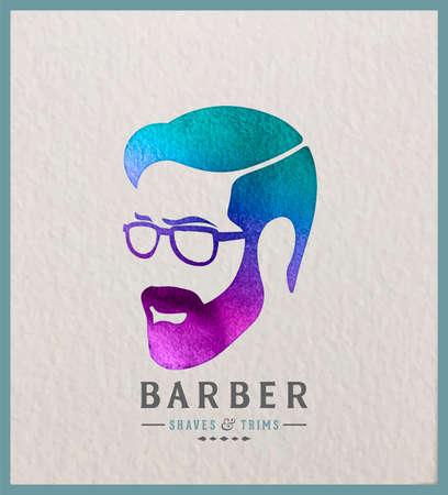 Creative watercolor logotype of man's head. Logo design for hair and barber salon. Фото со стока - 86671425