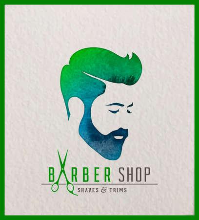 男の頭の創造的な水彩画のロゴタイプ。髪理容サロンのロゴデザイン。  イラスト・ベクター素材