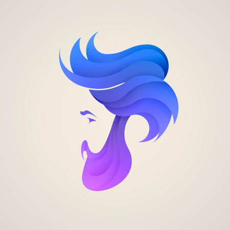 Stylizes man's head with hair logotype. Logo design for hair and barber salon Banco de Imagens - 86671433