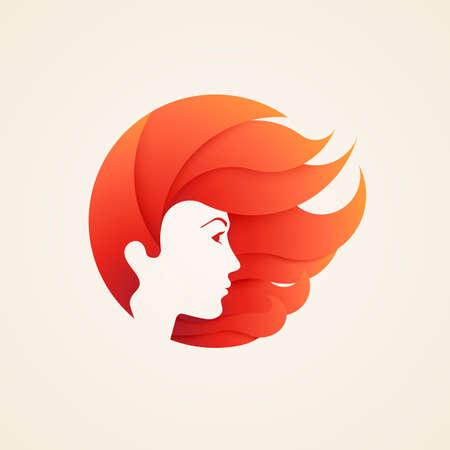 Stylizes womans head with hair logotype for beauty salon