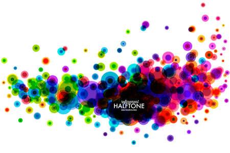 カラフルなハーフトーン ハーフトーン ドットの背景です。抽象的なイラスト。  イラスト・ベクター素材
