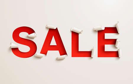 Bannière de vente. Découper le papier blanc ondulé sur un fond rouge Banque d'images - 86671445