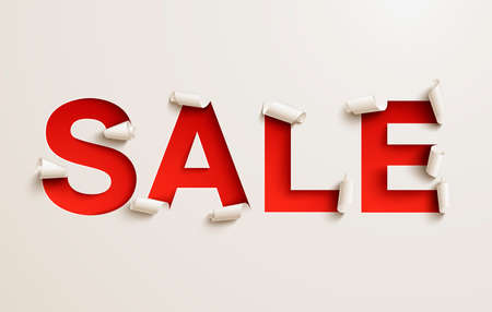 Sale banner. Cut out curled white paper over a red background