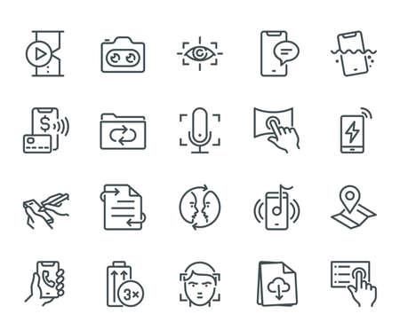 Smartphone Caractéristiques Icônes, concept Monoline Les icônes ont été créées sur une grille parfaite et alignée de 48x48 pixels offrant une apparence nette et nette. Poids de course réglable. Banque d'images - 86671450