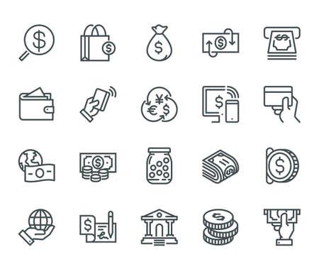 Ikony pieniędzy, koncepcja Monoline Ikony zostały utworzone na idealnie dopasowanej siatce o wymiarach 48x48 pikseli, zapewniając czysty i ostry wygląd. Regulowana waga skoku.