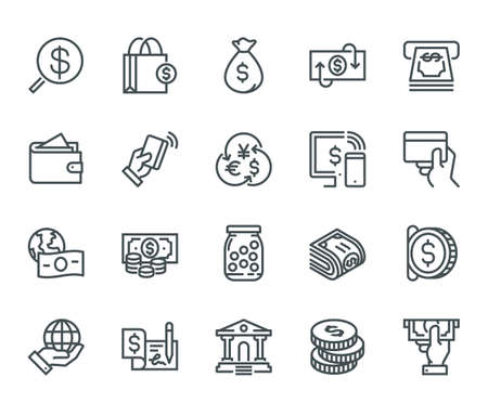 Money Icons, Monoline concept  The icons were created on a 48x48 pixel aligned, perfect grid providing a clean and crisp appearance. Adjustable stroke weight. Фото со стока - 86671451