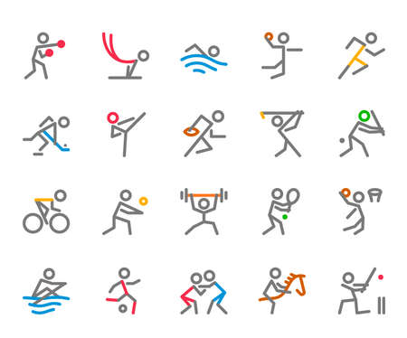 Sport Icons, Monoline, human figure concept, The icons were created on a 32x32 pixel aligned, perfect grid providing a clean and crisp appearance. Adjustable stroke weight. Ilustracja