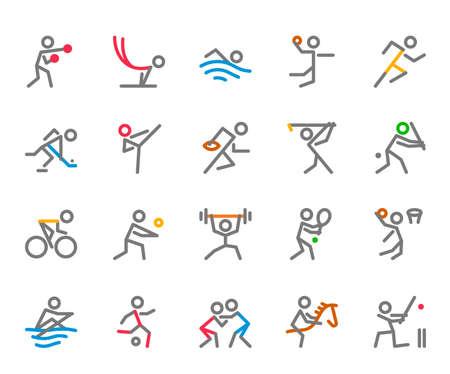 Sportpictogrammen, Monoline, menselijk figuurconcept, De pictogrammen zijn gemaakt op een 32x32 pixel uitgelijnd, perfect raster voor een schoon en helder uiterlijk. Instelbaar slaggewicht.