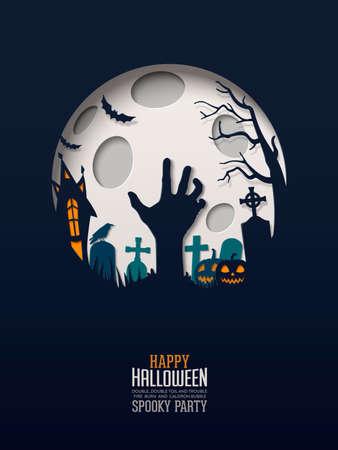 Halloween Papercut Design. Meerlaagse papieren creëren een spookachtig Halloween-landschap onder de volle maan