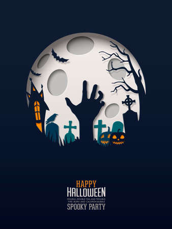 Halloween Papercut Design. Multilayered papers create spooky Halloween landscape under the full moon Illustration