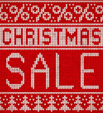 크리스마스 판매, 크리스마스 나무와 백분율 기호 패턴을 뜨개질. 니트 휴일 디자인입니다.