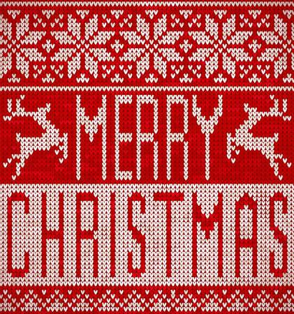 메리 크리스마스, 순록이 및 눈송이 패턴을 뜨개질. 니트 스웨터 디자인. 일러스트