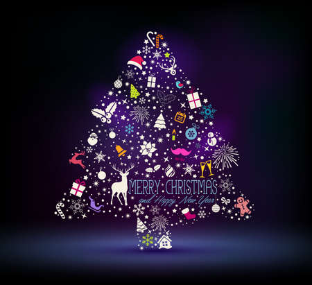 Holiday card, Christmas tree from design elements over dark background