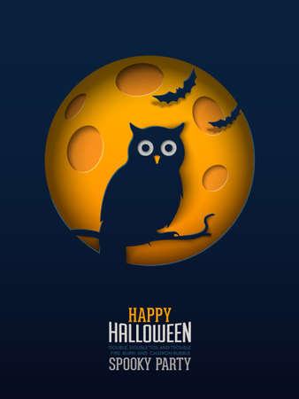 Halloween Owl, Papercut Design Multilayered papers create spooky Halloween scene under the full moon.