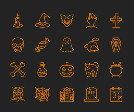 Halloween Icons,  Monoline concept Illustration