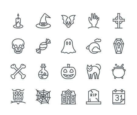 Halloween-Ikonen, Monolinekonzept Standard-Bild - 87516999
