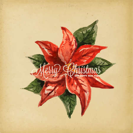 Holiday Greeting Card - Poinsettia, Retro style watercolor illustration