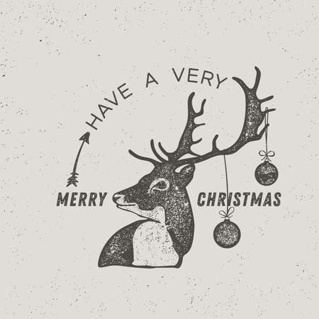 Reindeer Holiday Card, graphic style