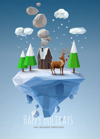 Geometric, low poly winter landscape