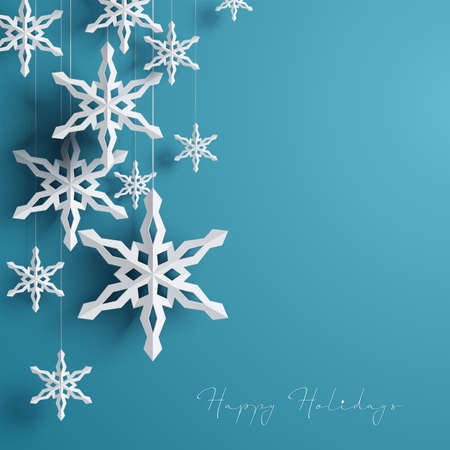 Paper 3d snowflakes background Vector illustration. Stock Vector - 91957678