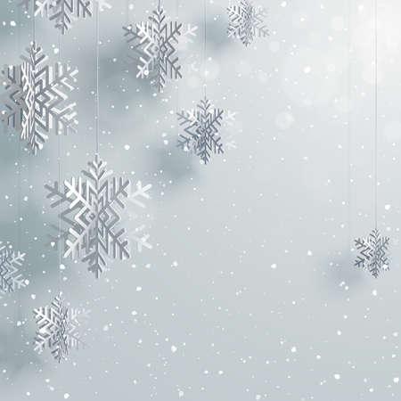 紙の 3 d 雪背景ベクトル イラスト。