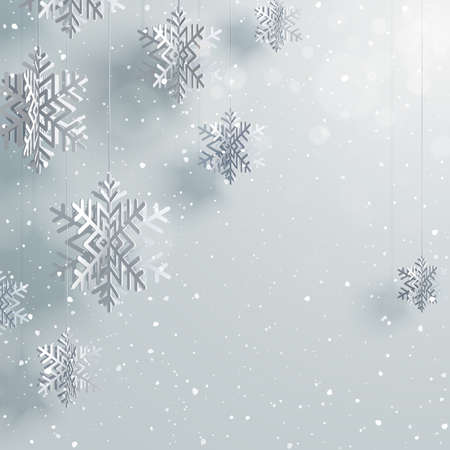 Paper 3d snowflakes background Vector illustration.