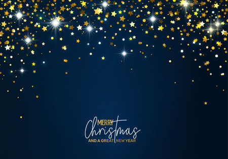 Holiday Greeting Card with golden stars Vectores