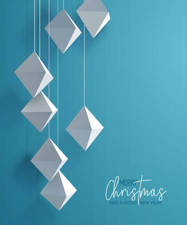 Holiday Greeting Card with paper ornaments