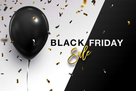 Black Friday Balloon Banner. Black Friday background. Single Black Balloon, Confetti and Typography over B&W background. Illustration
