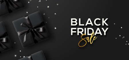 Black Friday-Verkauf. Black Friday horizontale Banner. Geschenkboxen und Konfetti auf dunklem Hintergrund. Vektorgrafik