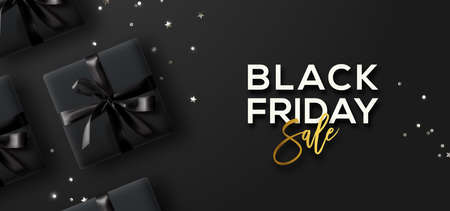 Black Friday Sale. Black Friday Horizontal Banner. Gift boxes and confetti  over dark background.