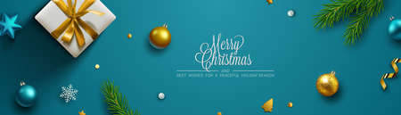 Fondo azul de Navidad, banner, marco, encabezado, fondo o diseño de tarjeta de felicitación con decoración navideña que incluye adornos, cajas de regalo, esquejes de abeto, purpurina y confeti. Ilustración de vector.
