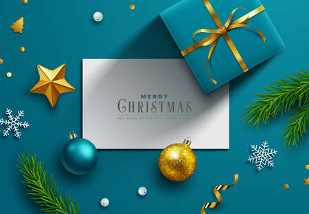 Blue Christmas background, banner, frame, header, background or greeting card design with note paper and christmas decor including baubles, gift boxes, fir tree cuttings, glitter and confetti. Vector Illustration. Ilustracja