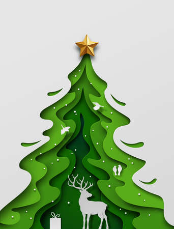Paper art craft, Deer in forest with snow and birds. Overall composition appears as Christmas tree. Vector illustration. Vetores