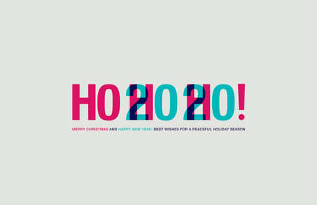 Greeting Christmas Card. Colorful lettering. Blend of Ho Ho Ho and 2020 signs.