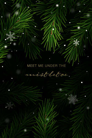 Christmas frame with fir tree branches and hand lettering. Vector Illustration. Vetores