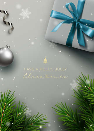 Elegant Christmas background, banner, frame, header, background or greeting card design with christmas decor including baubles, gift box, fir tree cuttings, and hand lettering. Vector Illustration.